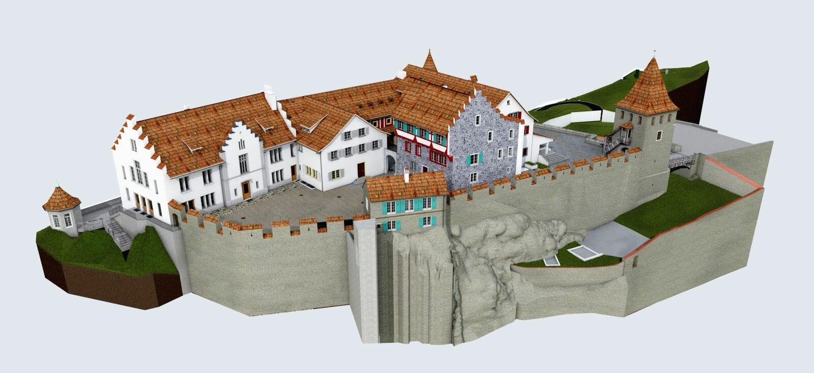 Punktwolken zu CAD, Punktwolken zu BIM, 3d Laserscanning, Schloss Laufen - Point cloud zu CAD