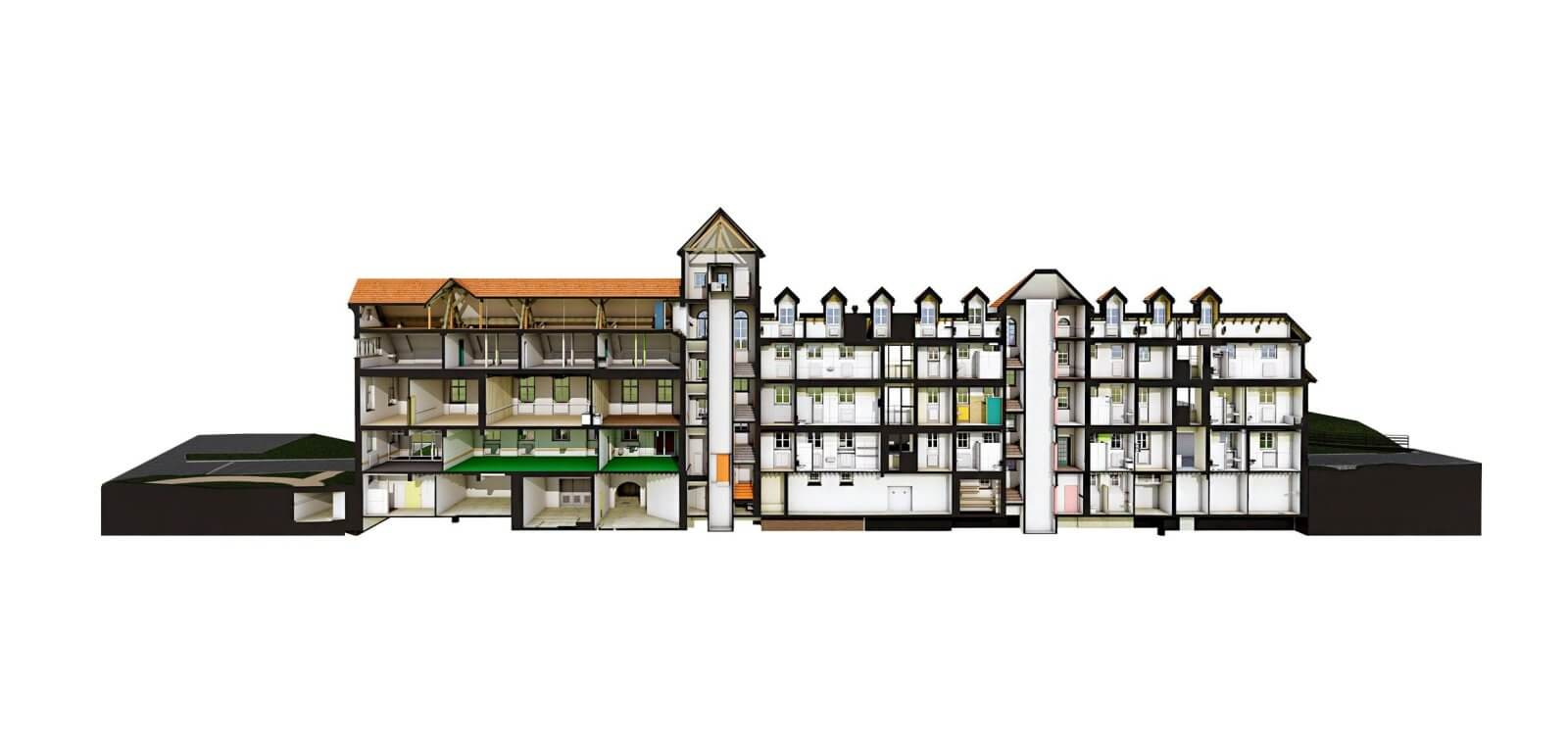 Wagerenhof-Uster-pointcloud-to-Archicad-3D-section