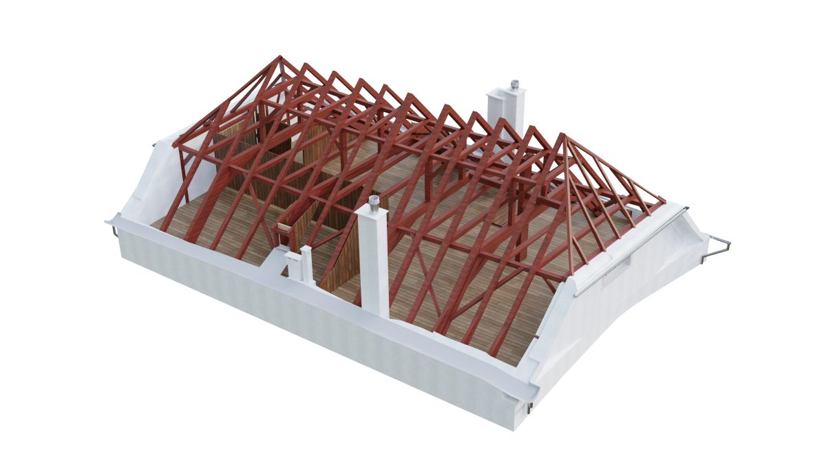 3D BIM model roof wooden construction