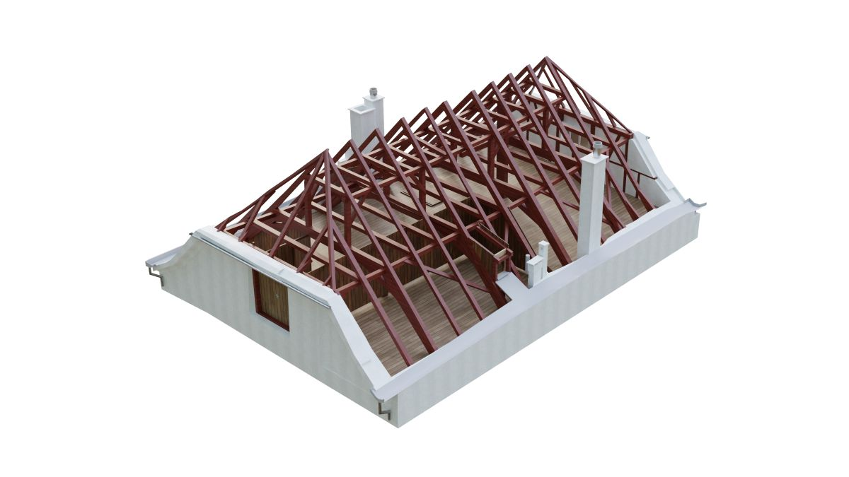 3D BIM model roof wooden construction